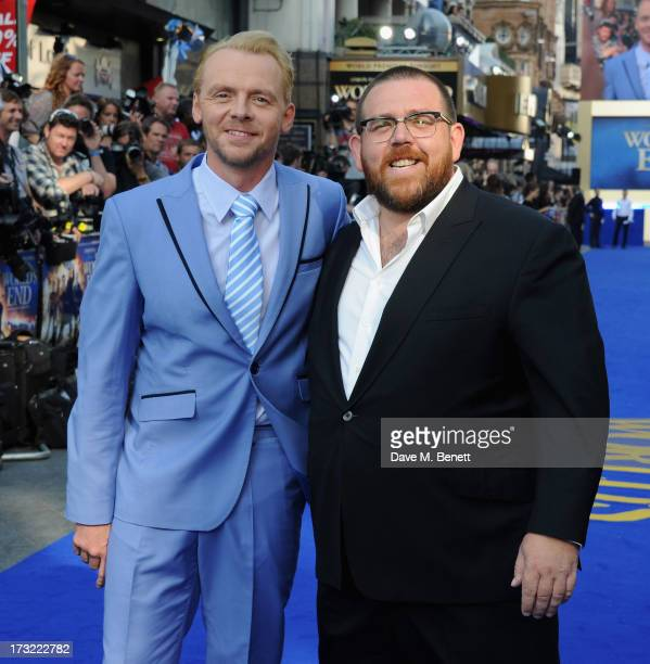 Simon Pegg and Nick Frost attend the World Premiere of 'The World's End' at Empire Leicester Square on July 10 2013 in London England
