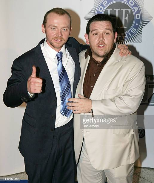 Simon Pegg and Nick Frost during 'Hot Fuzz' Sydney Premiere Arrivals at Greater Union in Sydney NSW Australia