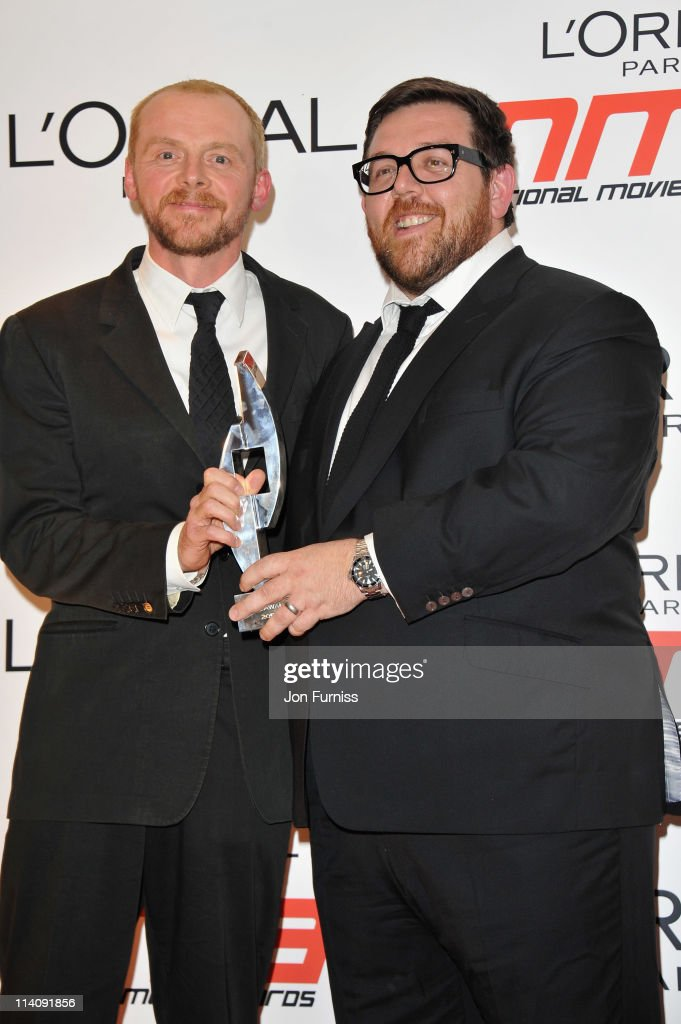Simon Pegg and Nick Frost pose with their comedy award in the press room at the L'Oreal National Movie Awards 2011 at Wembley Arena on May 11 2011 in...