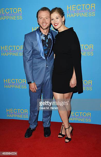 Simon Pegg and Rosamund Pike attend the UK Premiere of 'Hector And The Search For Happiness' at Empire Leicester Square on August 13 2014 in London...