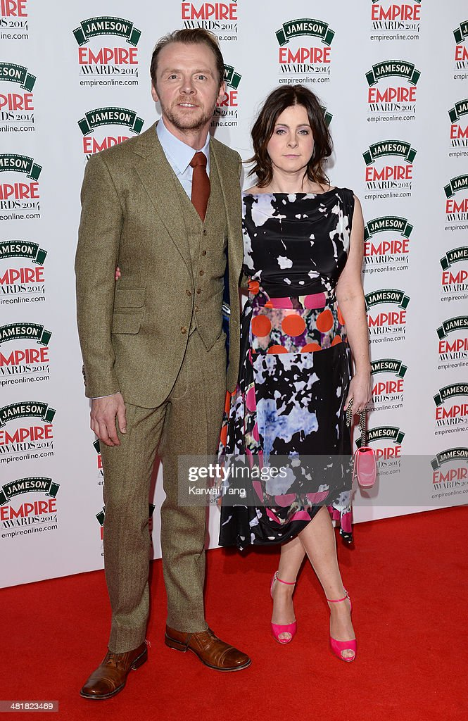 Simon Pegg and wife Maureen attend the Jameson Empire Film Awards at Grosvenor House on March 30, 2014 in London, England.