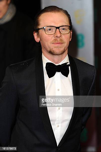 Simon Pegg attends the EE British Academy Film Awards at The Royal Opera House on February 10 2013 in London England