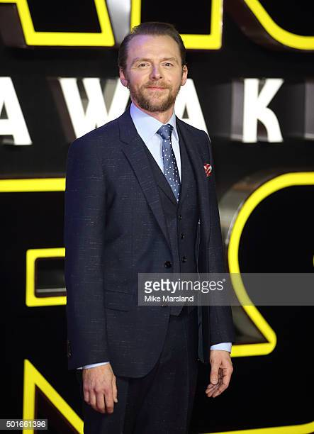 Simon Pegg attends the European Premiere of 'Star Wars The Force Awakens' at Leicester Square on December 16 2015 in London England