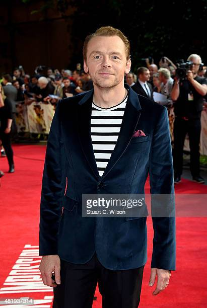 Simon Pegg attends the UK Fan Screening of 'Mission Impossible Rogue Nation' at the IMAX Waterloo on July 25 2015 in London United Kingdom