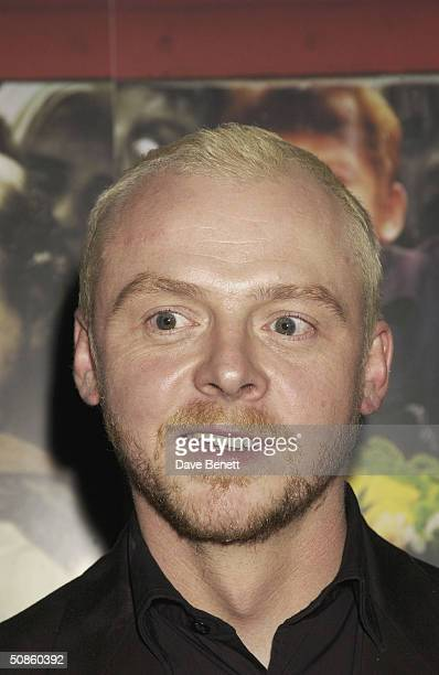 Simon Pegg attends the UK Premiere of 'Shaun of the Dead' at The Vue in Leicester Square followed by the party at the Atlantic Bar and Grill on March...