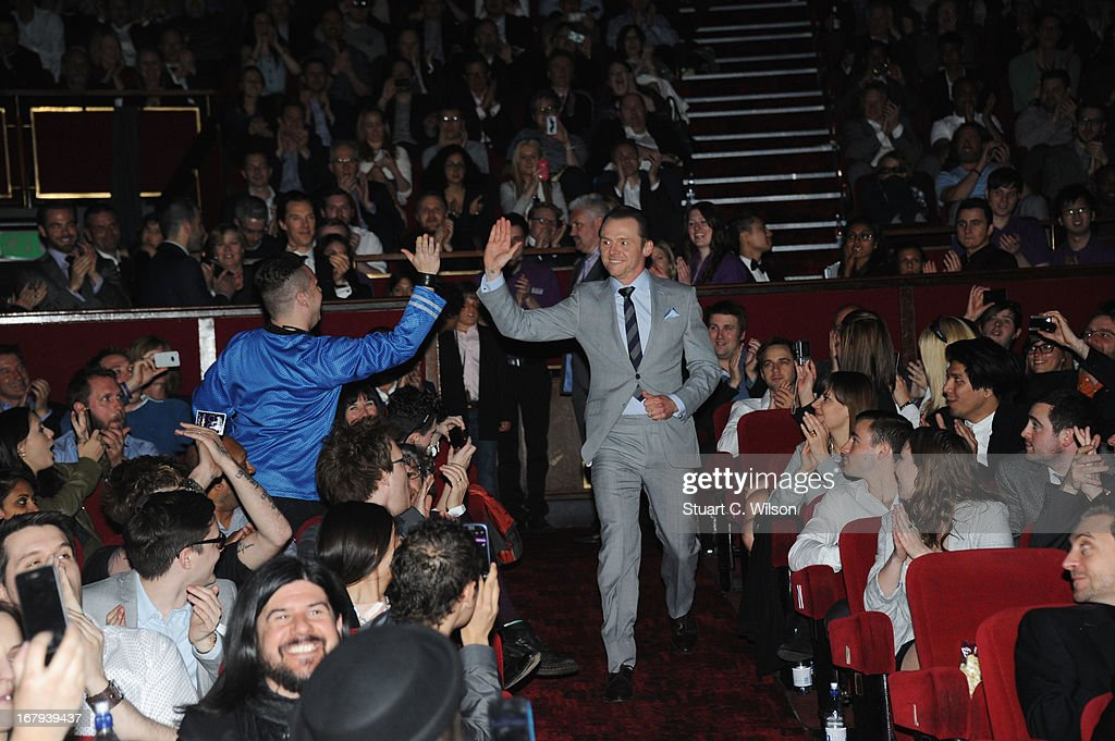 Simon Pegg attends the UK Premiere of 'Star Trek Into Darkness' at The Empire Cinema on May 2, 2013 in London, England.