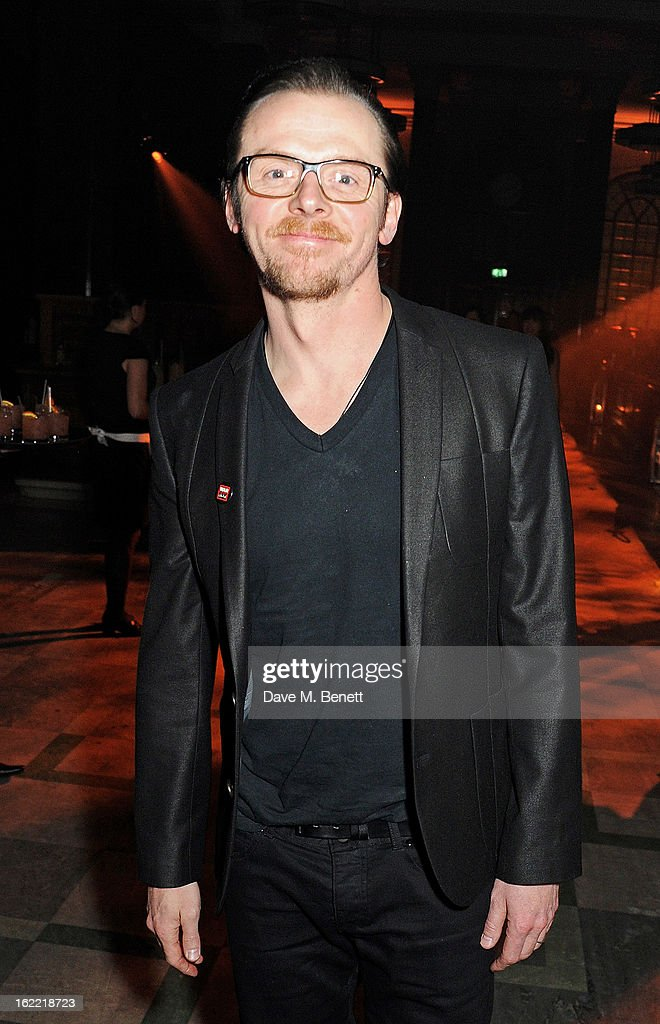 <a gi-track='captionPersonalityLinkClicked' href=/galleries/search?phrase=Simon+Pegg&family=editorial&specificpeople=206280 ng-click='$event.stopPropagation()'>Simon Pegg</a> attends the Universal Music Brits Party hosted by Bacardi at the Soho House pop-up on February 20, 2013 in London, England.