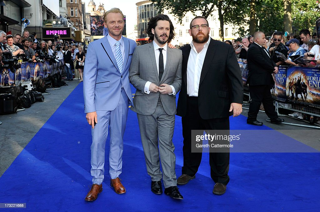 Simon Pegg, Director Edgar Wright and Nick Frost attend the World Premiere of The World's End at Empire Leicester Square on July 10, 2013 in London, England.