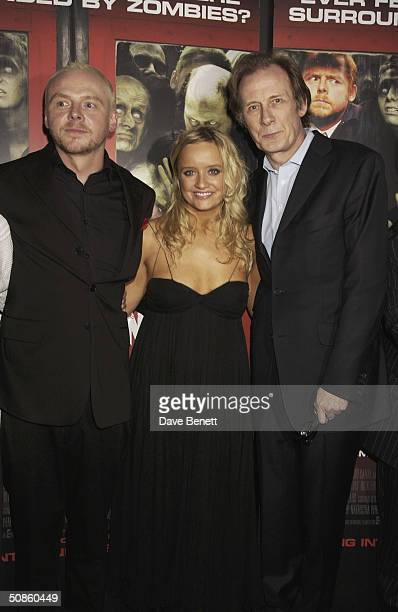 Simon Pegg Lucy Davies and Bill Nighy attend the UK Premiere of 'Shaun of the Dead' at The Vue in Leicester Square followed by the party at the...
