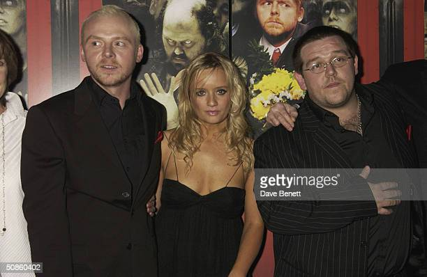 Simon Pegg Lucy Davies and Nick Frost attend the UK Premiere of 'Shaun of the Dead' at The Vue in Leicester Square followed by the party at the...