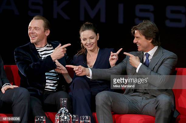 Simon Pegg Rebecca Ferguson and Tom Cruise take part in a QA at the UK Fan Screening of 'Mission Impossible Rogue Nation' at the IMAX Waterloo on...