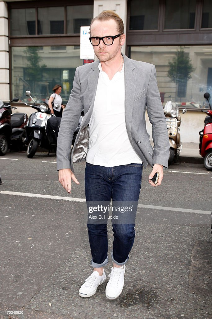Simon Pegg seen arriving at the BBC Radio 2 Studios on June 8 2015 in London England