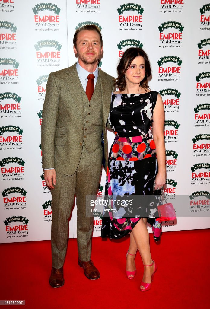 <a gi-track='captionPersonalityLinkClicked' href=/galleries/search?phrase=Simon+Pegg&family=editorial&specificpeople=206280 ng-click='$event.stopPropagation()'>Simon Pegg</a> with his wife Maureen attend the Jameson Empire Awards 2014 at the Grosvenor House Hotel on March 30, 2014 in London, England. Regarded as a relaxed end to the awards show season, the Jameson Empire Awards celebrate the film industry's success stories of the year with winners being voted for entirely by members of the public. Visit empireonline.com/awards2014 for more information.