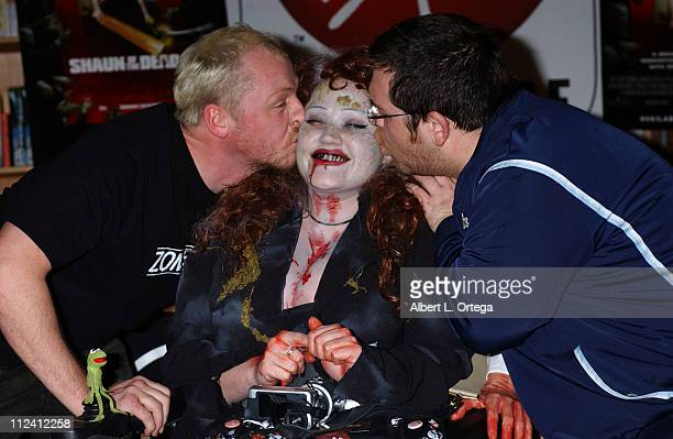 Simon Pegg zombie fan and Nick Frost during 'Shaun of the Dead' DVD Release and InStore Signing at Virgin Megastore Sunset in West Hollywood...