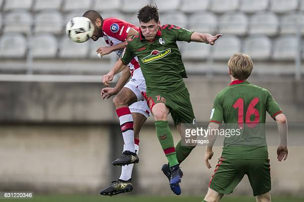 Simon Poulsen of PSV Pascal Stenzel of SC Freiburgduring the friendly match between PSV Eindhoven and SC Freiburg at the stadium Nuevo Mirador on...