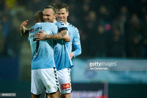 Simon Poulsen of SonderjyskE Pierre Kanstrup of SonderjyskE celebrate after the Danish Alka Superliga match between SonderjyskE and Randers FC at...