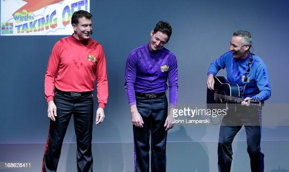 Simon Pryce Lachlan Gillespie and Anthony Field of the Wiggles perform at the Apple Store Soho on May 12 2013 in New York City