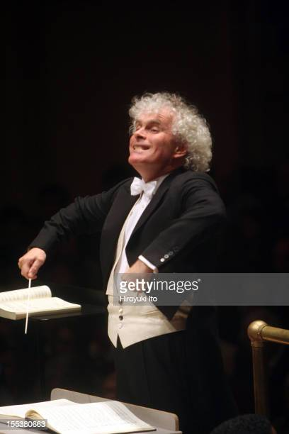 Simon Rattle leading the Philadelphia Orchestra in Berlioz's 'La damnation de Faust' at Carnegie Hall on Friday night May 1 2009
