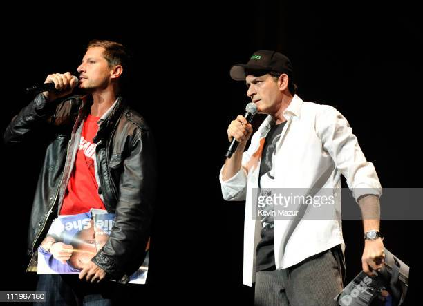 Simon Rex and Charlie Sheen speaks on stage during his 'Violent Torpedo of Truth/Defeat Is Not An Option' tour at Radio City Music Hall on April 10...