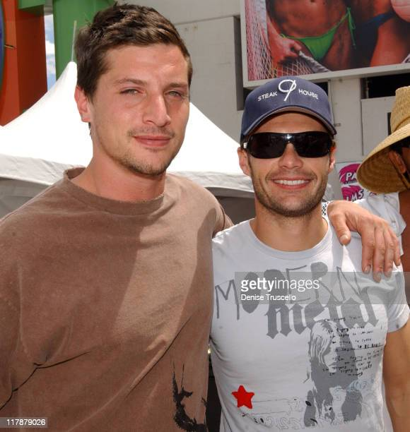 Simon Rex and Ryan Seacrest during Volleypalooza 2005 at The Palms Hotel and Casino Resort Hosted By OceanDrive and Vegas Magazine at The Palms Hotel...