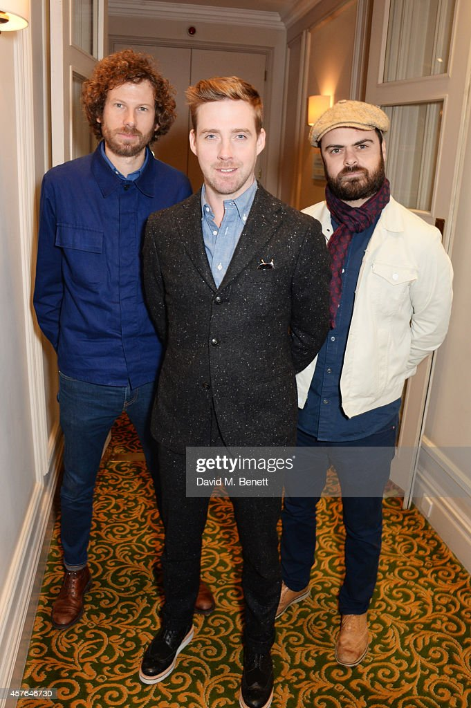 Simon Rix Ricky Wilson and Nick Baines of Kaiser Chiefs arrive at the Xperia Access Q Awards at The Grosvenor House Hotel on October 22 2014 in...