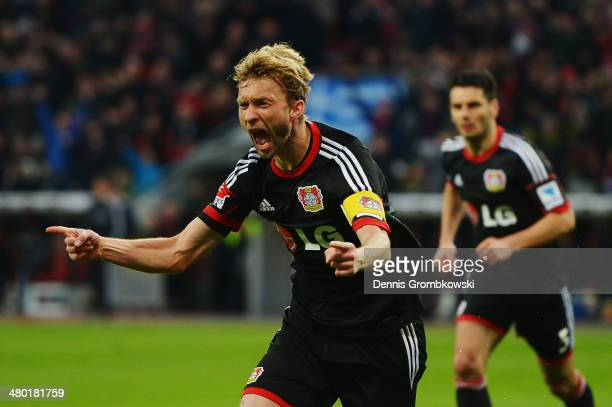 Simon Rolfes of Bayer Leverkusen celebrates after scoring his team's second goal during the Bundesliga match between Bayer Leverkusen and 1899...