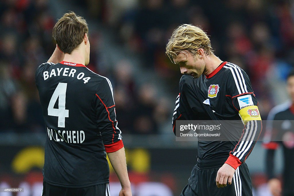 Simon Rolfes of Bayer Leverkusen reacts during the Bundesliga match between Bayer Leverkusen and FC Schalke 04 at BayArena on February 15, 2014 in Leverkusen, Germany.