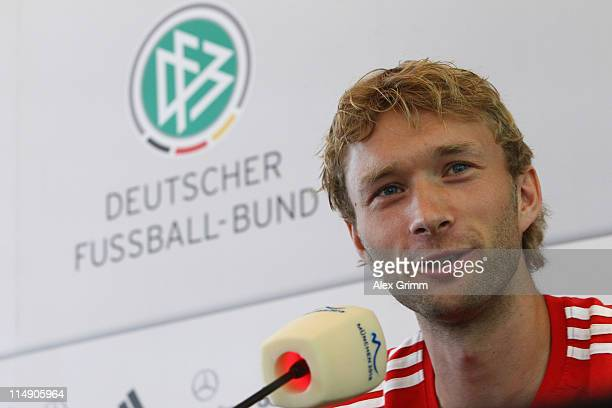Simon Rolfes of Germany talks to the media during a press conference at the DFB headquarters on May 28 2011 in Frankfurt am Main Germany
