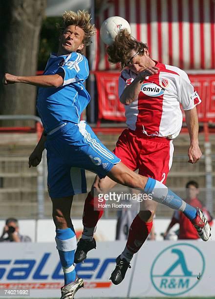 Simon Rolfes ofeverkusen and Steffen Baumgart of Cottbus during the Bundesliga match between Energie Cottbus and Bayer Leverkusen at the stadium der...