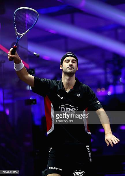Simon Rosner of Germany celebrates a point against Cameron Pilley of Australia during day three of the PSA Dubai World Series Finals 2016 at Burj...