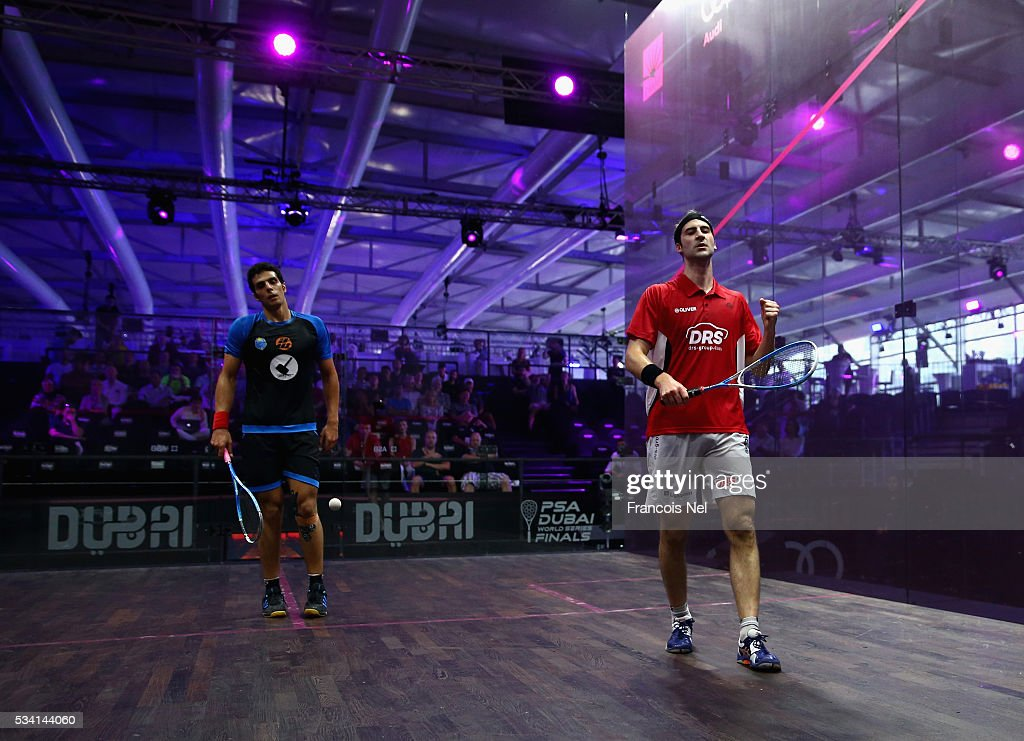 Simon Rosner of Germany celebrates after beating Omar Mosaad of Egypt during day two of the PSA Dubai World Series Finals 2016 at Burj Park on May 25, 2016 in Dubai, United Arab Emirates.