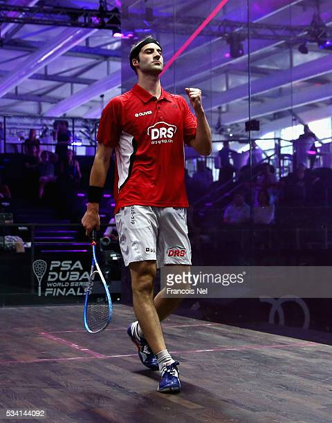 Simon Rosner of Germany celebrates after beating Omar Mosaad of Egypt during day two of the PSA Dubai World Series Finals 2016 at Burj Park on May 25...