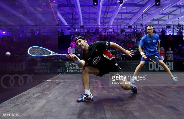Simon Rosner of Germany competes against Cameron Pilley of Australia during day three of the PSA Dubai World Series Finals 2016 at Burj Park on May...