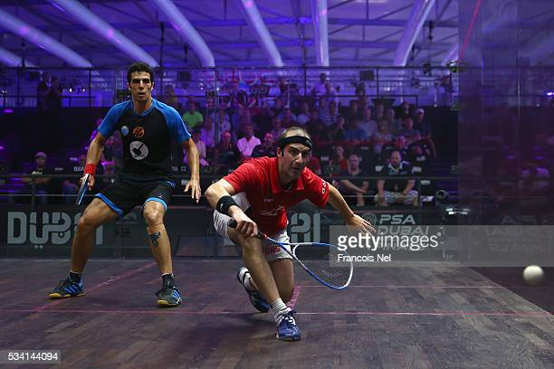 Simon Rosner of Germany competes against Omar Mosaad of Egypt during day two of the PSA Dubai World Series Finals 2016 at Burj Park on May 25 2016 in...