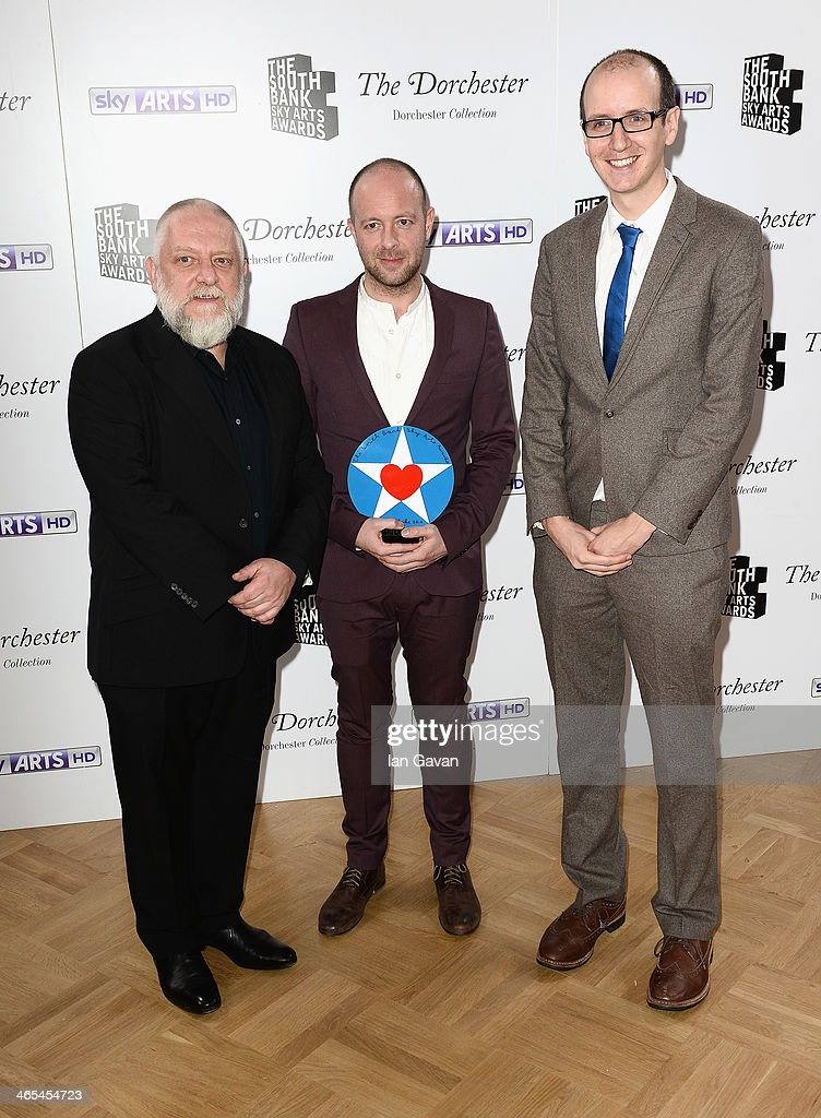 Simon Russell Beale, director John Tiffany and playwright Jack Thorne with their Best Theatre award during the South Bank Sky Arts awards at the Dorchester Hotel on January 27, 2014 in London, England.