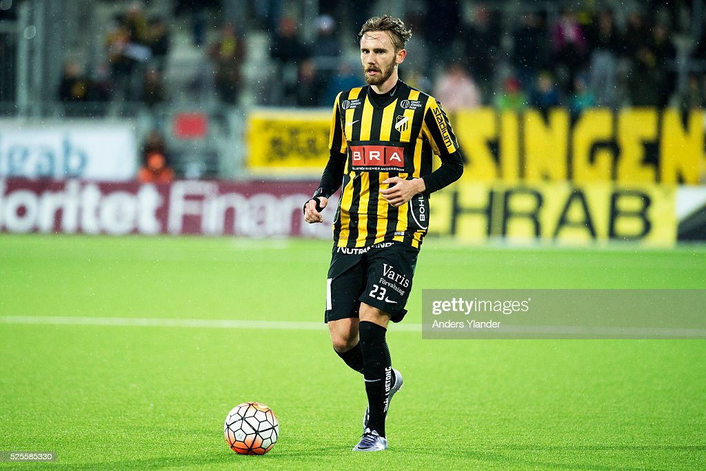 Simon Sandberg of BK Hacken controls the ball during the Allsvenskan match between BK Hacken and Gefle IF at Bravida Arena on April 28, 2016 in Gothenburg, Sweden.