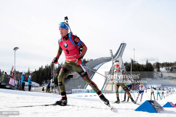Simon Schempp from Germany competes during the IBU Biathlon World Cup Men 15 km Mass Start competition in Oslo on March 19 2017 / AFP PHOTO / NTB...
