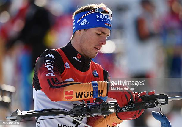 Simon Schempp of Germany at the zeoring for the men's 125 km pursuit event during the IBU Biathlon World Cup on December 14 2014 in Hochfilzen Austria