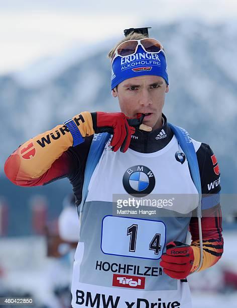 Simon Schempp of Germany at the zeoring for the Men's 4 x 75 km relay event in the IBU Biathlon World Cup on December 13 2014 in Hochfilzen Austria