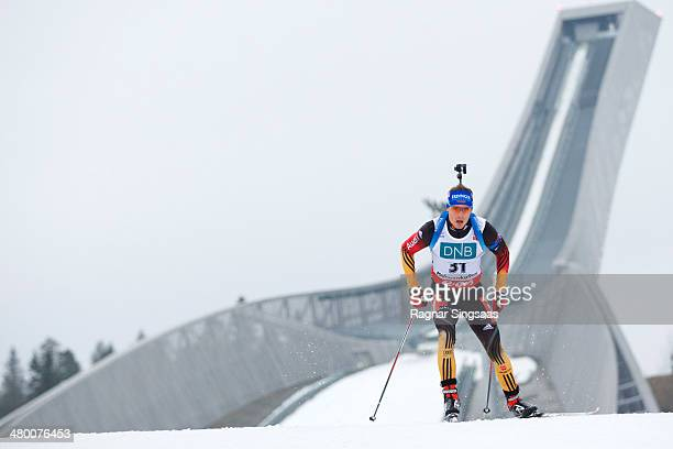 Simon Schempp of Germany competes during the IBU Biathlon World Cup Men's 125 km pursuit race on March 22 2014 in Oslo Norway
