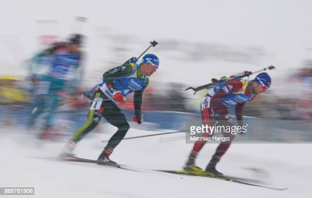 Simon Schempp of Germany competes in the 125 km Men's Pursuit during the BMW IBU World Cup Biathlon on December 9 2017 in Hochfilzen Austria
