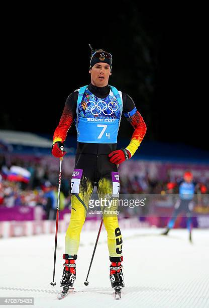 Simon Schempp of Germany competes in the 2 x 6 km Women 2 x 7 km Men Mixed Relay during day 12 of the Sochi 2014 Winter Olympics at Laura...