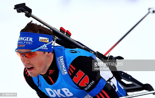 Simon Schempp of Germany competes in the men's 10km sprint during day three of the IBU Biathlon World Championships at Holmenkollen on March 5 2016...