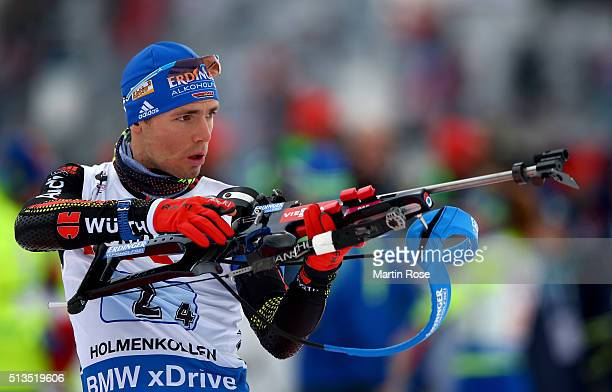 Simon Schempp of Germany during the zeoring for the IBU Biathlon World Championships Mixed Relay at Holmenkollen on March 3 2016 in Oslo Norway