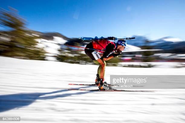 Simon Schempp of Germany in action at the men's 15km mass start competition during the IBU World Championships Biathlon 2017 at the Biathlon Stadium...