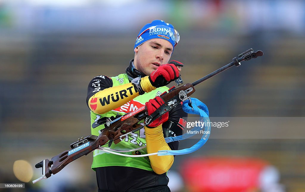 Simon Schempp of Germany looks on during an offical training session at Vysocina Arena on February 6, 2013 in Nove Mesto na Morave, Czech Republic.