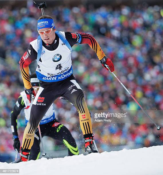 Simon Schempp of Germany on his way to victory in the IBU Biathlon World Cup Men's Mass Start on January 18 2015 in Ruhpolding Germany