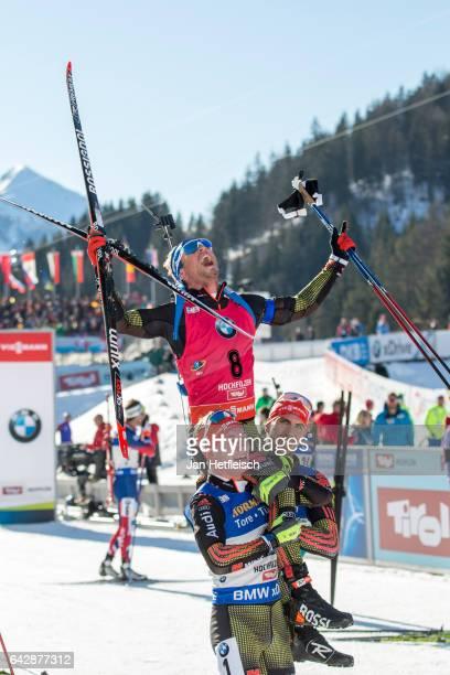 Simon Schempp of Germany reacts after winning the men's 15km mass start competition of the IBU World Championships Biathlon 2017 at the Biathlon...