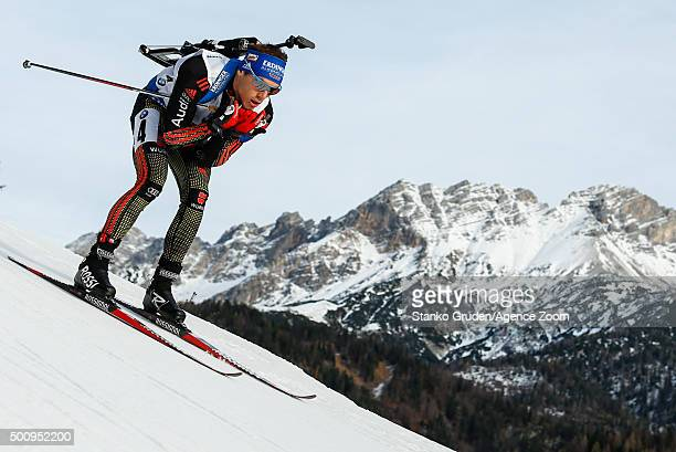 Simon Schempp of Germany takes 1st place during the IBU Biathlon World Cup Men's and Women's Sprint on December 11 2015 in Hochfilzen Austria