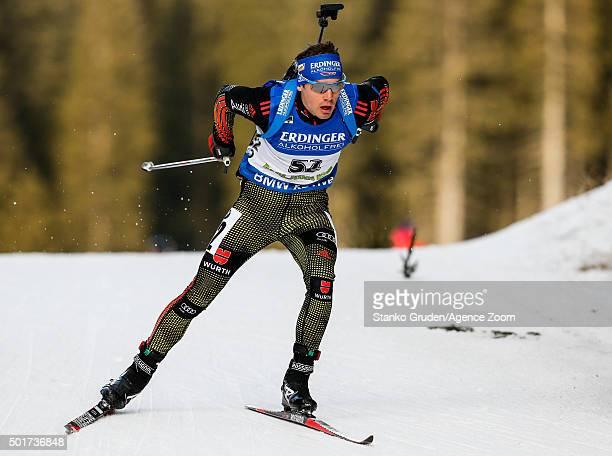 Simon Schempp of Germany takes 1st place during the IBU Biathlon World Cup Men's Sprint on December 17 2015 in Pokljuka Slovenia